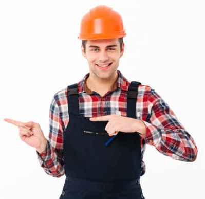 Testimonials-portrait-smiling-young-male-builder-pointing