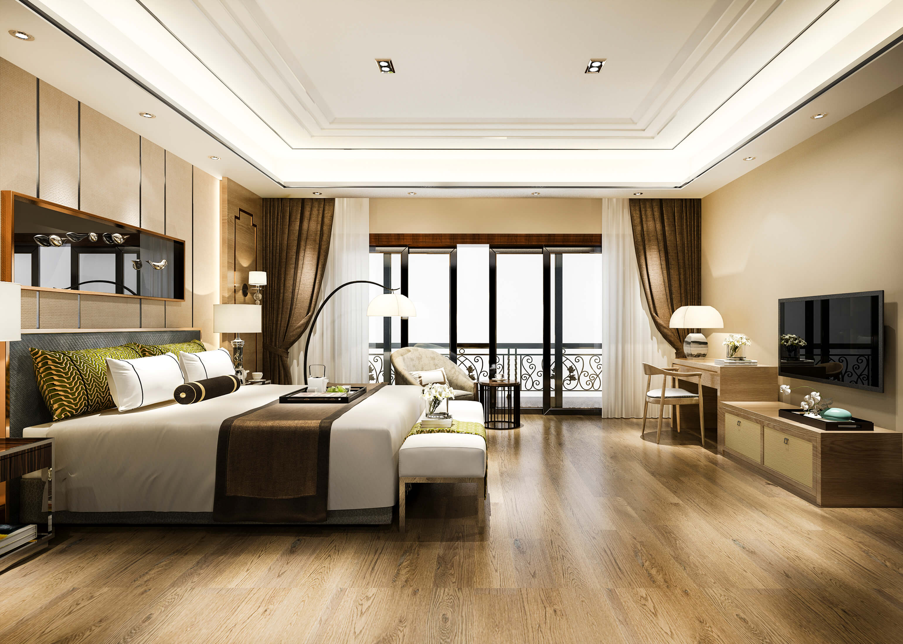 luxury-bedroom-suite-resort-high-rise-hotel-with-working-table